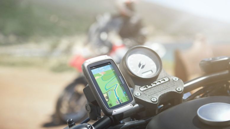 TomTom Rider 400 Portable Motorcyle GPS device - mounted on motorcycle handle bar